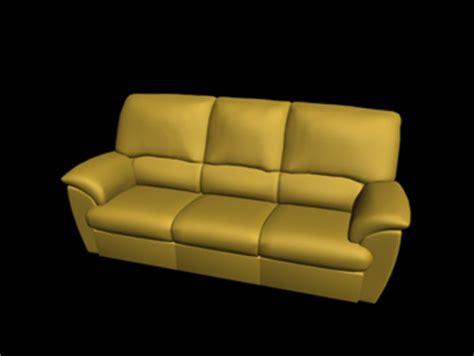 canap cuir jaune style europ en canap cuir jaune trois si ges 3d model