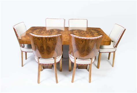 antique deco walnut dining table 6 chairs c 1920
