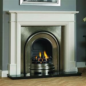 Traditional, Gas, White, Surround, Black, Granite, Cast, Iron, Fire, Fireplace, Suite, 56, U0026quot