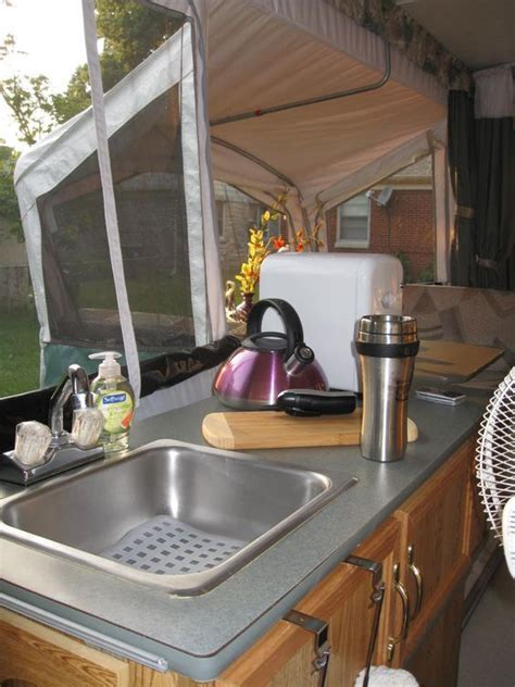 Pop Up camper, kitchen, mine will have a Keurig on that