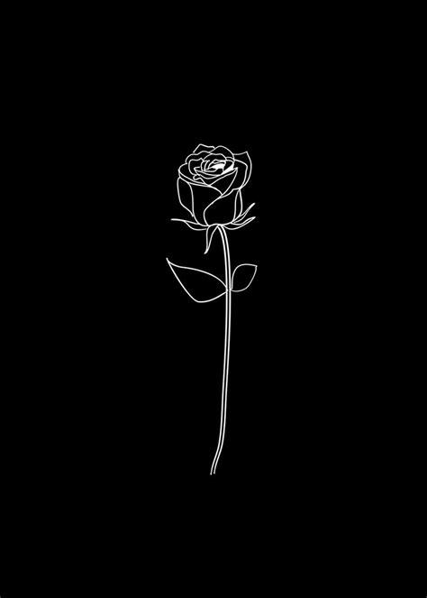 Rose Dekoration Schwarzes Plakat Deko Romantisch Kunst