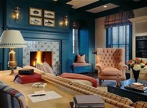 Dark, Blue, Living, Room, Walls