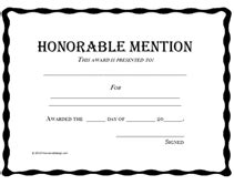 Free Printable Honorable Mention Awards Certificates Templates