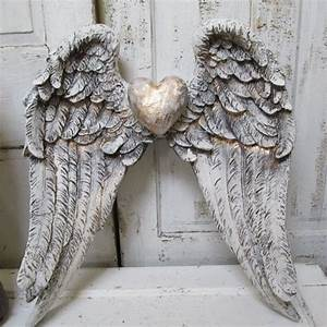 Angel wings wall decor shabby cottage white gray