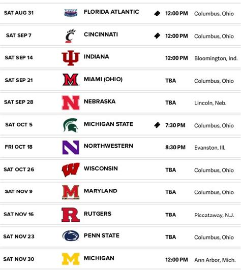 ohio state football schedule     buckeyes