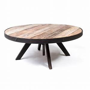 Table Basse Ronde Bois Metal : table basse ronde vintage industrielle m tal vieux bois r glable le d p t des docks ~ Teatrodelosmanantiales.com Idées de Décoration
