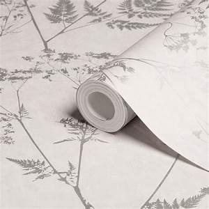 Graham & Brown Gilded Fern Grey Leaf Metallic Wallpaper ...