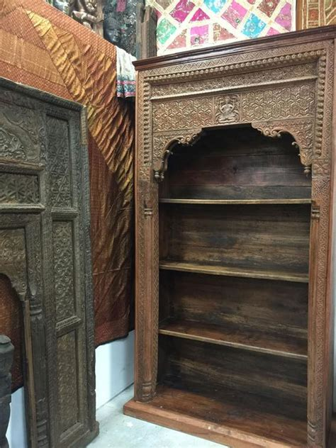 Indian Wood Bookcase by Antique Bookcase Ganesha Indian Carved Wood Book Shelf