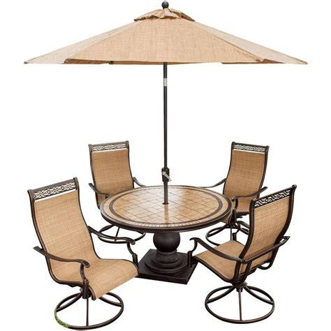 hanover monaco 5 outdoor patio dining set and