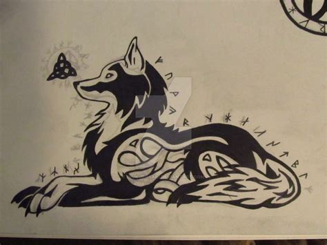 celtic runic triquetra tribal wolf tattoo design