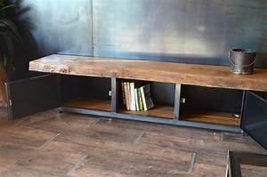 Banc Bois Massif : meuble tv industriel en bois massif et m tal micheli design ~ Teatrodelosmanantiales.com Idées de Décoration