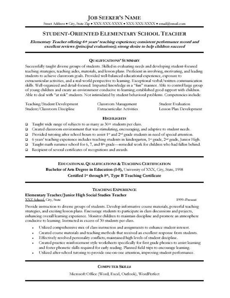 Sle Resume For Teachers by Resume Sle Resumes