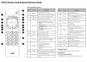Vcr11 Remote Control Quick Reference Guide