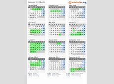 Kalender 2019 + Ferien Berlin, Feiertage