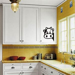 Funny cow kitchen fridge sticker vinyl decals wall tiles for Kitchen colors with white cabinets with vinyl stickers for walls
