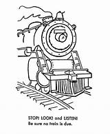Coloring Train Railroad Safety Steam Engine Trains Sheets Colouring Printable Clip Clipart Listen Stop Printables Quest Cliparts Activity Library Popular sketch template