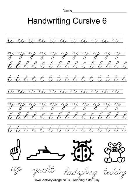 handwriting practice cursive 6 bullet journal board