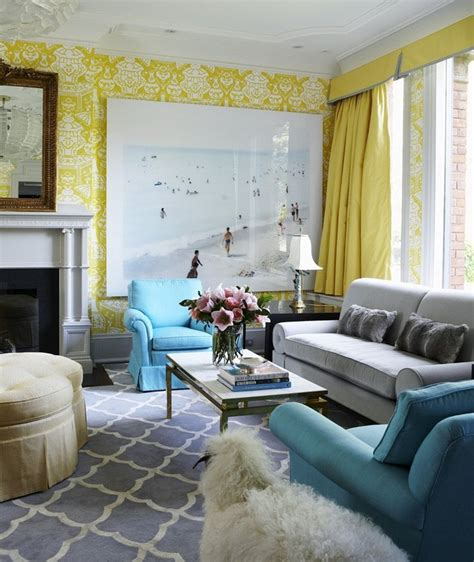 coral yellow green  gray couch yellow damask