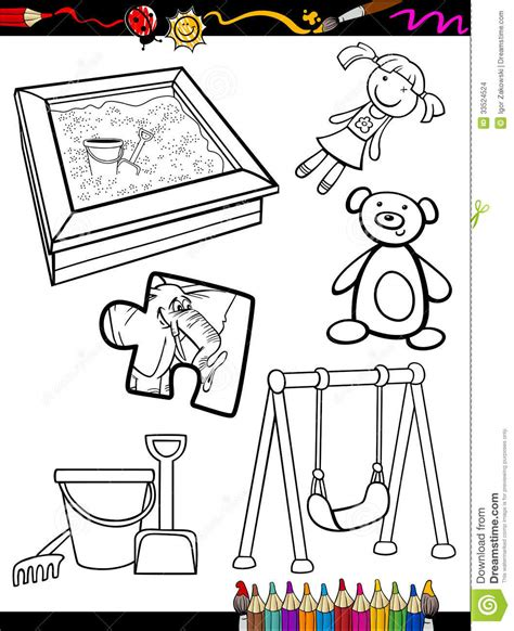 cartoon toys objects coloring page stock images image