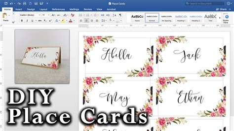 How To Make Diy Place Cards With Mail Merge In Ms Word And Adobe Illustrator Youtube