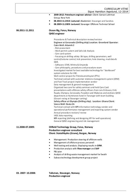 Petroleum Production Engineer Resume by Petroleum Production Engineer Description Cv Sigve