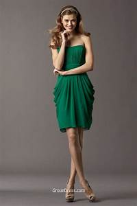emerald green chiffon short strapless sculpted neck With short green wedding dresses