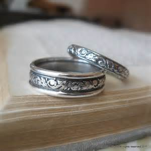 silver wedding ring sets scroll wedding ring set sterling silver wedding bands