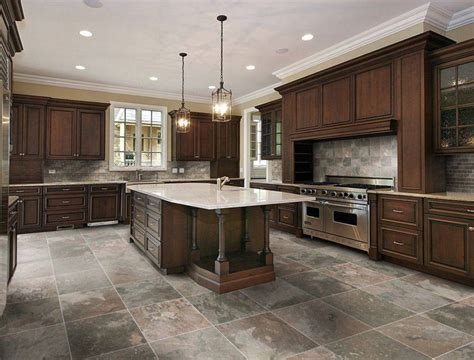 Good Layout Of Ceramic Tile Flooring For Large Kitchen