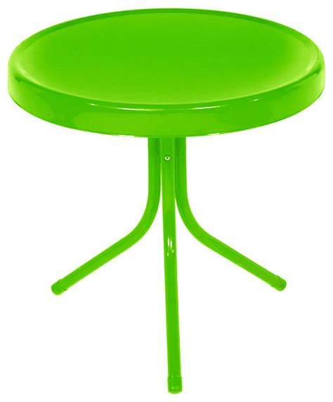 retro metal tulip outdoor side table lime green 20