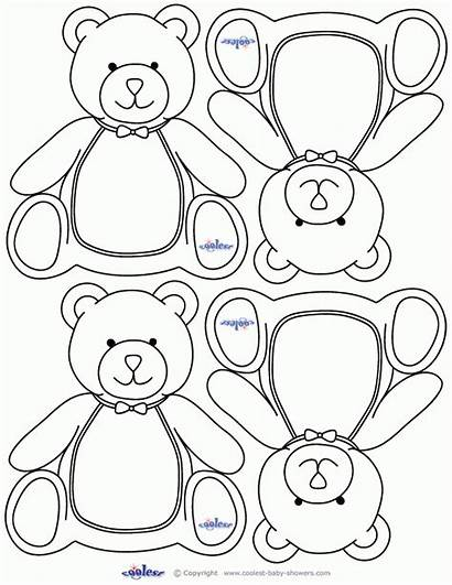 Bear Coloring Teddy Printable Cut Shapes Shower