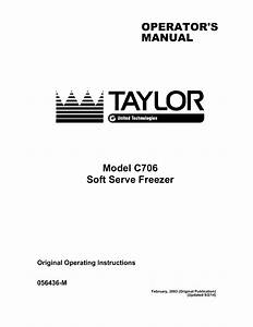 Taylor Freezer C706 User U0026 39 S Manual
