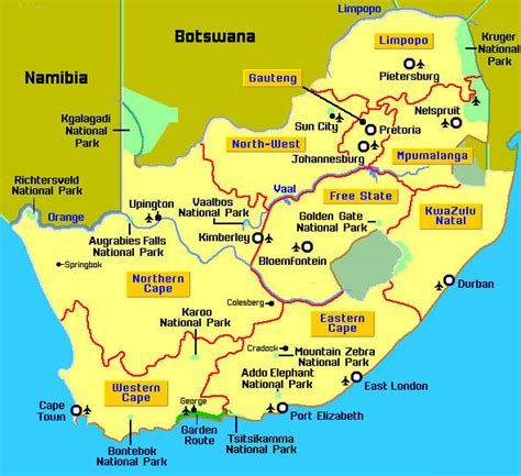 detailed map  south africa  provinces   major
