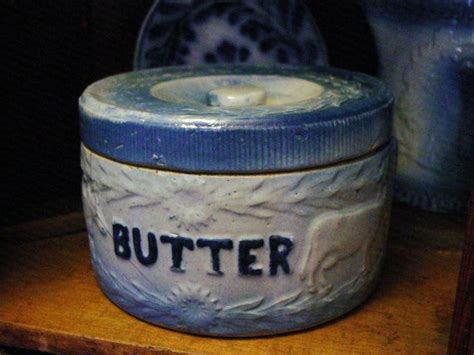 blue white butter crock butter antique blue and white stoneware cows and fence butter