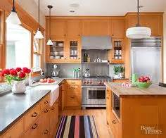 kitchens with wood floors a more modern look with oak cabinets stainless steel 8786