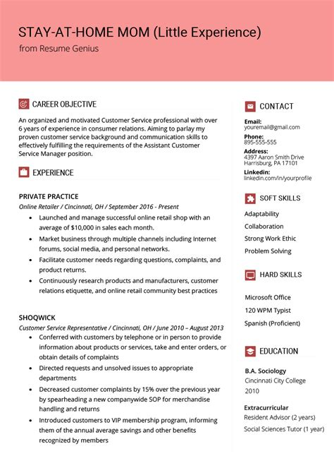 Work Resume Template by Stay At Home Experience Resume Exle