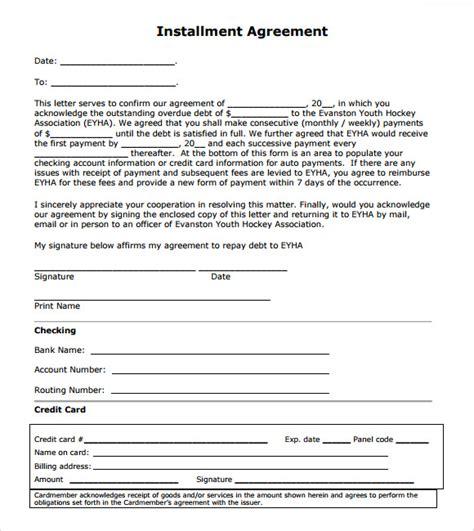 installment payment agreement template installment agreement 7 free sles exles format