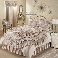 chagne bedroom home gt ruffled romance chagne rosette comforter bed set home decor