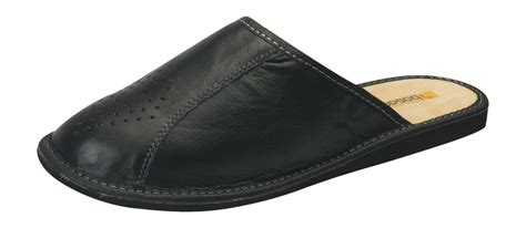 mens comfort house slippers leather slip  shoes uk