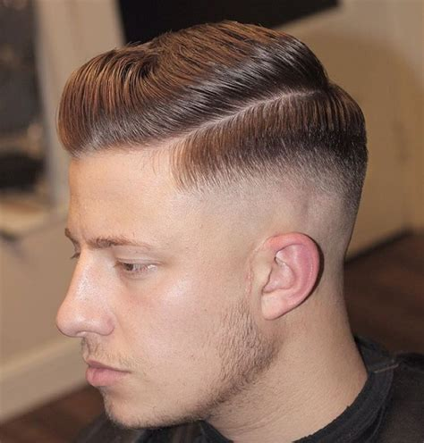 michealsbarbershop side part mens haircut  mid fade