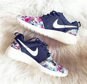 shoes, nike, nike running shoes, tick, floral, flowers ...