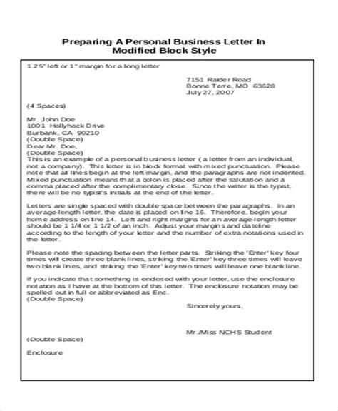 personal business letter 9 sle business letter format exles sle templates 25464
