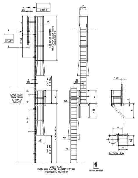 563-CP Parapet Return with Rest Platform Ladder - Alaco Ladder