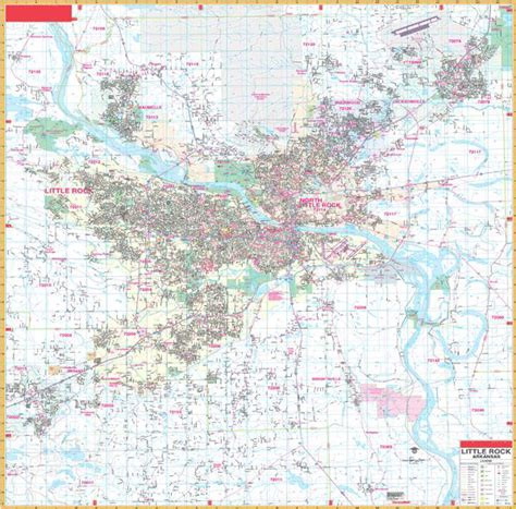Deluxe Laminated Wall Map Of Little Rock Arkansas 72x64