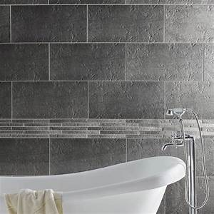 Carrelage sol et mur gris vestige l30 x l60 cm leroy for Carrelage adhesif salle de bain avec castorama led exterieur