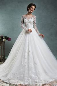 fairy ball gown illusion neckline long sleeve tulle lace With wedding dress ball gown with sleeves