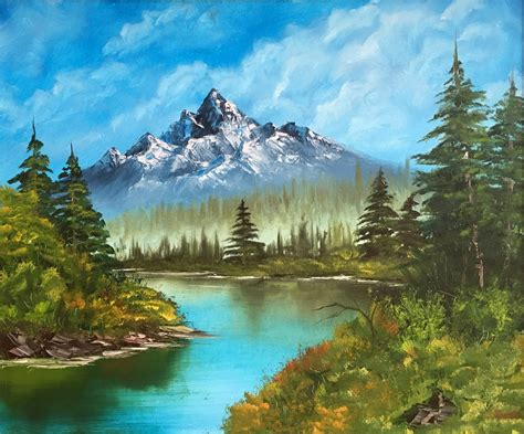 Landscape Painting. Original Oil On Canvas. Bob Ross Style