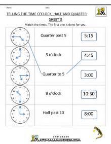 Telling Time Worksheet Time Worksheet O 39 Clock Quarter And Half Past