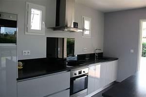 meubles laques gris clair brillant plan de travail en With parquet noir brillant
