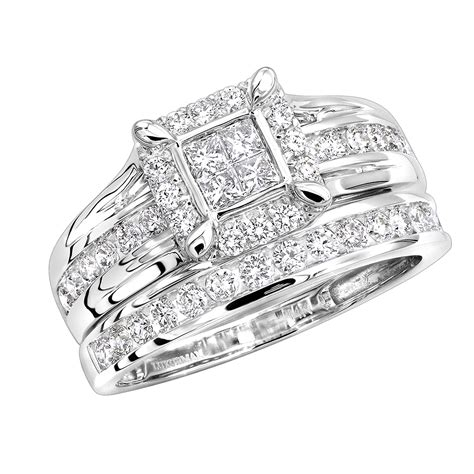cheap engagement ring sets 1 carat bridal ring in 14k gold