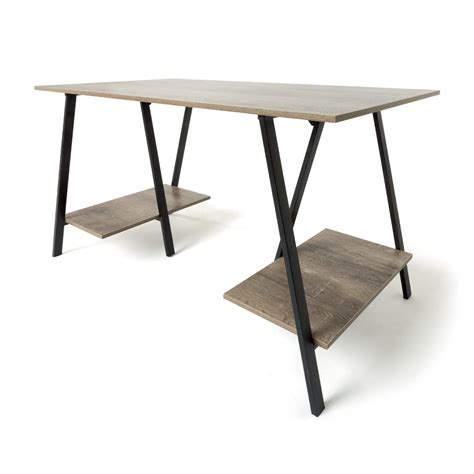 Industrial Trestle Desk  Kmart. Silverware Dividers For Drawers. Best Wood For A Desk. Us General 5 Drawer Tool Cart. Desk Plates. Black Console Tables. Stools For Desks. Contemporary Writing Desks. Marble Top Accent Table